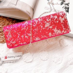 CHARMING CHARLIE Sequin Chain Clutch Pink